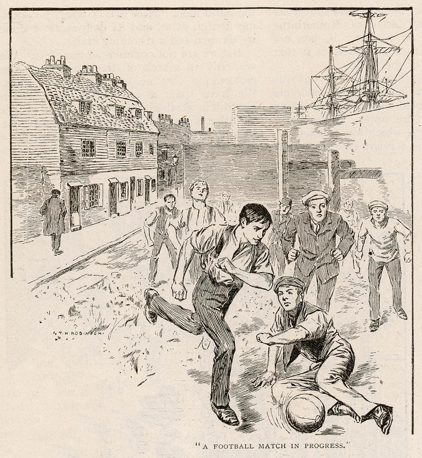 Working Class Children Play Football Drawing By Mary Evans Picture Library