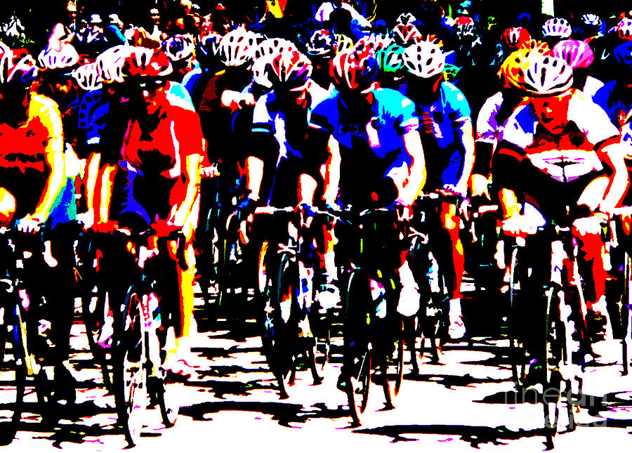 Peloton Photograph - Working Together To Catch The Leader by David Bearden