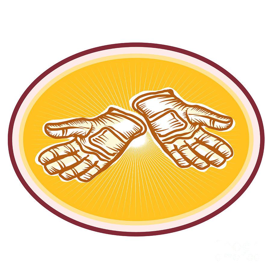 Gloves Digital Art - Workman Utility Gloves Retro by Aloysius Patrimonio