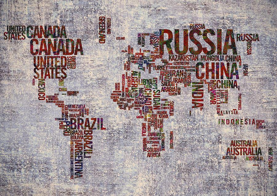 World Map Painting - World Map Typography Artwork by Georgeta Blanaru