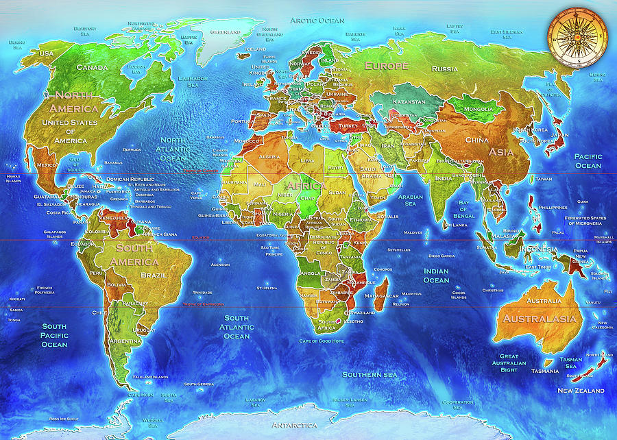 World Geo Political Map Painting By Mgl Meiklejohn Graphics Licensing