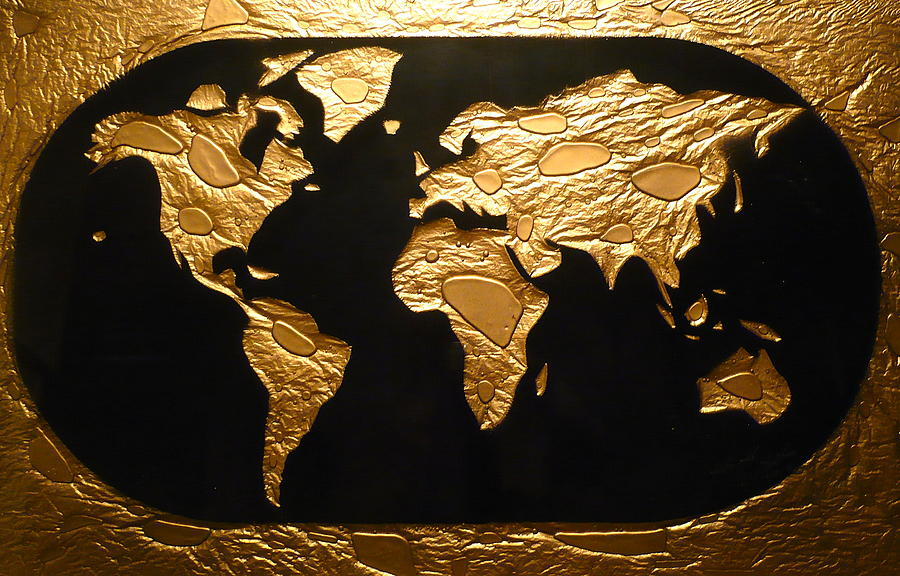World in gold world map painting by rick silas map painting world in gold world map by rick silas gumiabroncs Gallery