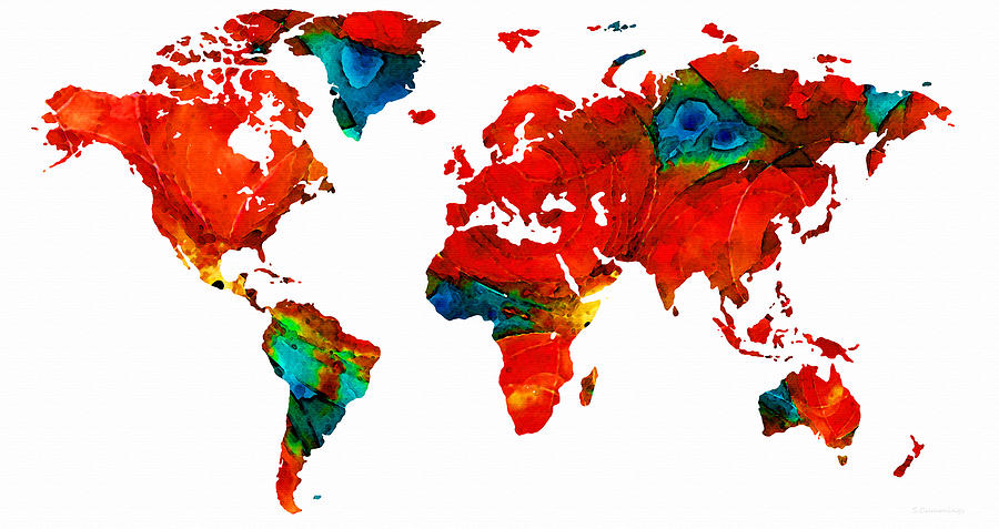 Sharon Cummings Painting - World Map 12 - Colorful Red Map By Sharon Cummings by Sharon Cummings