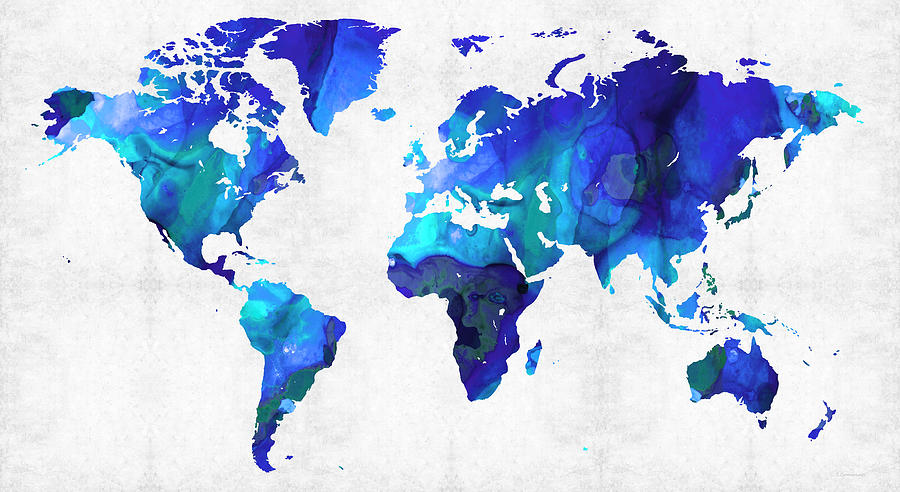 World Map Blue Art By Sharon Cummings Painting By Sharon Cummings - Colorful world map painting