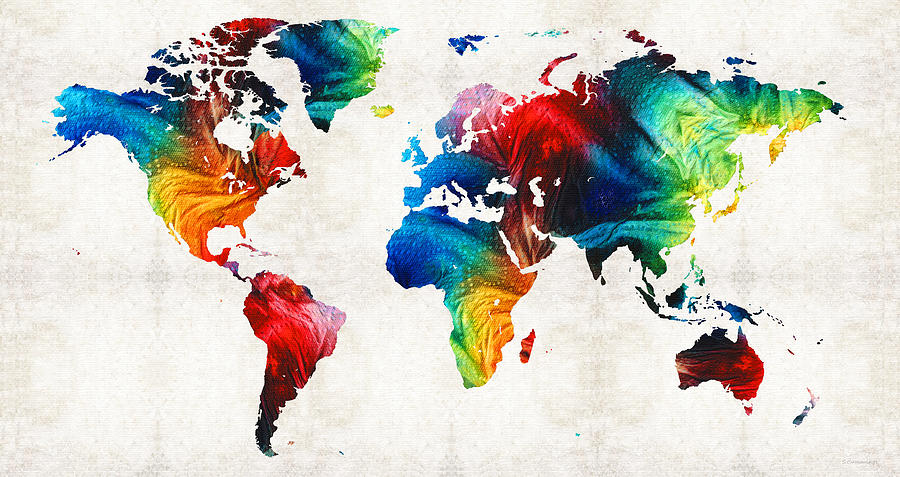 World Map Colorful Art By Sharon Cummings Painting By Sharon - Colorful world map