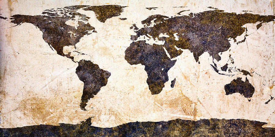 Earth Painting - World Map Abstract by Bob Orsillo