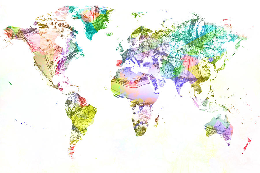 World map paint splashes art page 2 of 3 fine art america world map paint splashes wall art digital art world map acrylic paint splash by publicscrutiny Image collections