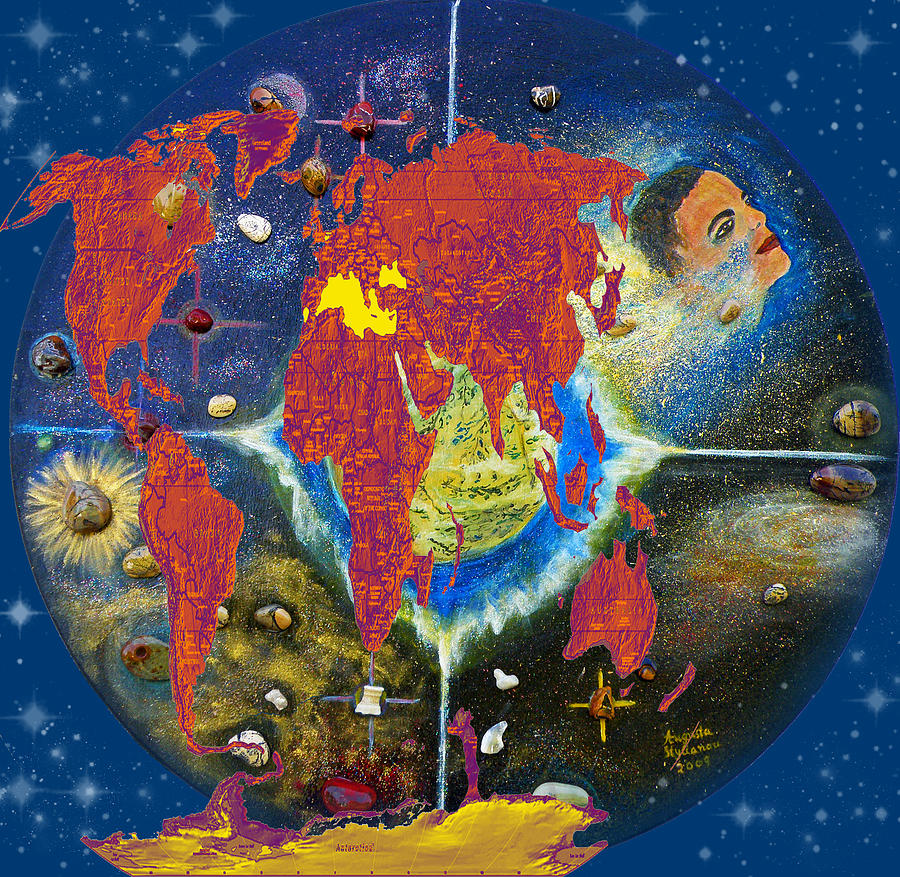 Best Selling Prints Painting - World Map And Barack Obama Stars by Augusta Stylianou