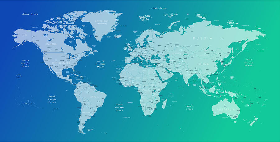 World Map - Borders, Countries And Cities - Vector Illustration by Pop_jop