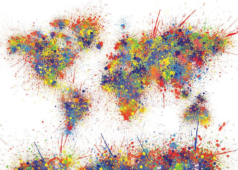 World Map Brush Paint Splatter Painting By Bekim Art