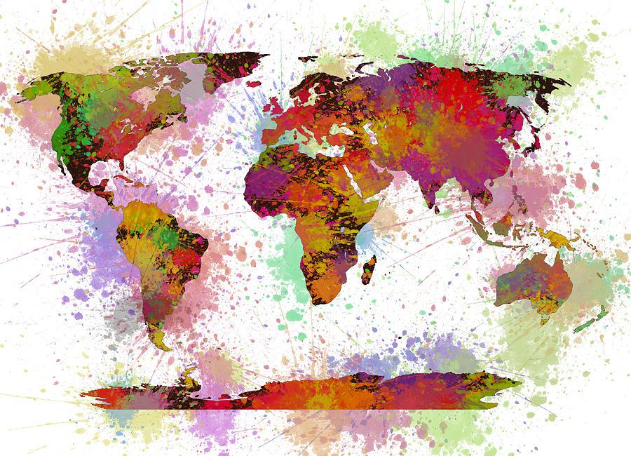World Map Digital Watercolor Painting Painting By Georgeta Blanaru