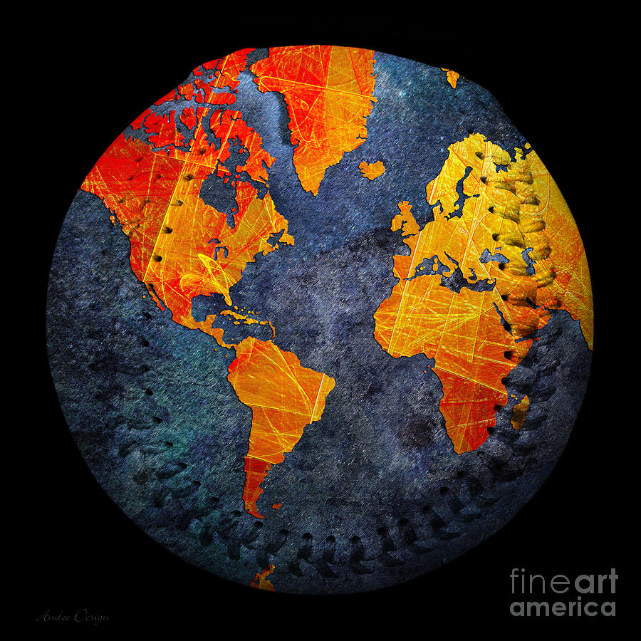 Baseball Photograph - World Map - Elegance Of The Sun Baseball Square by Andee Design