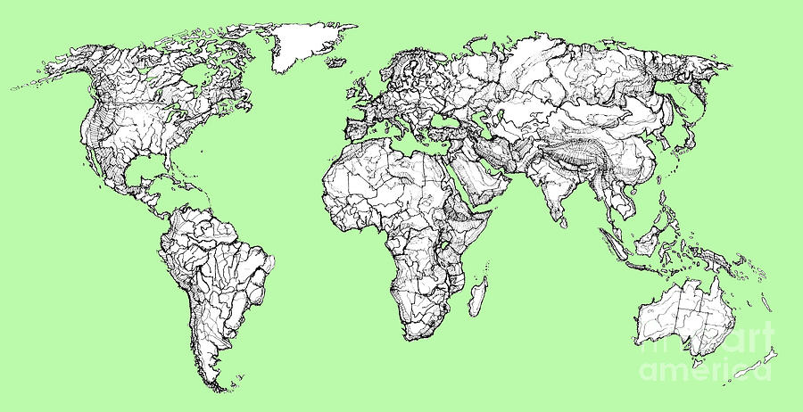 World Map In Pistachio Green Drawing by Adendorff Design