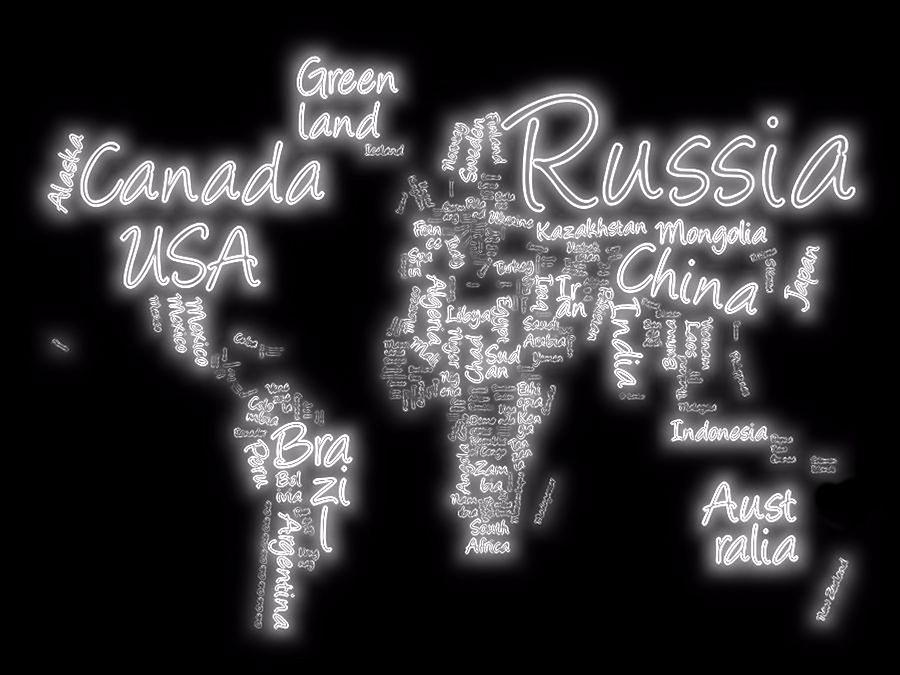 World map in text neon light digital art by dan sproul world map digital art world map in text neon light by dan sproul gumiabroncs Images