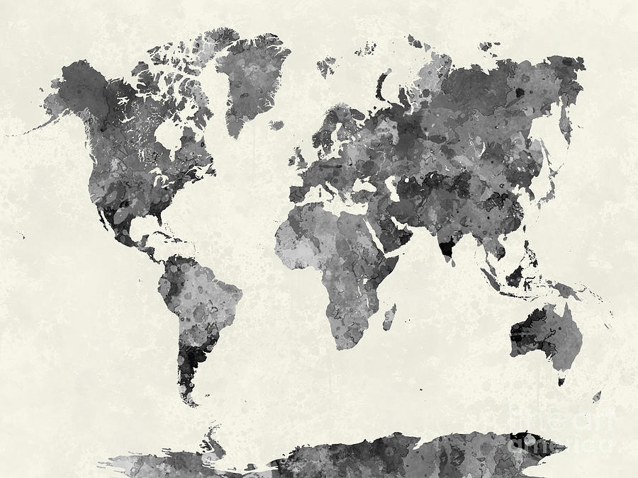World map in watercolor gray painting by pablo romero map painting world map in watercolor gray by pablo romero gumiabroncs Image collections