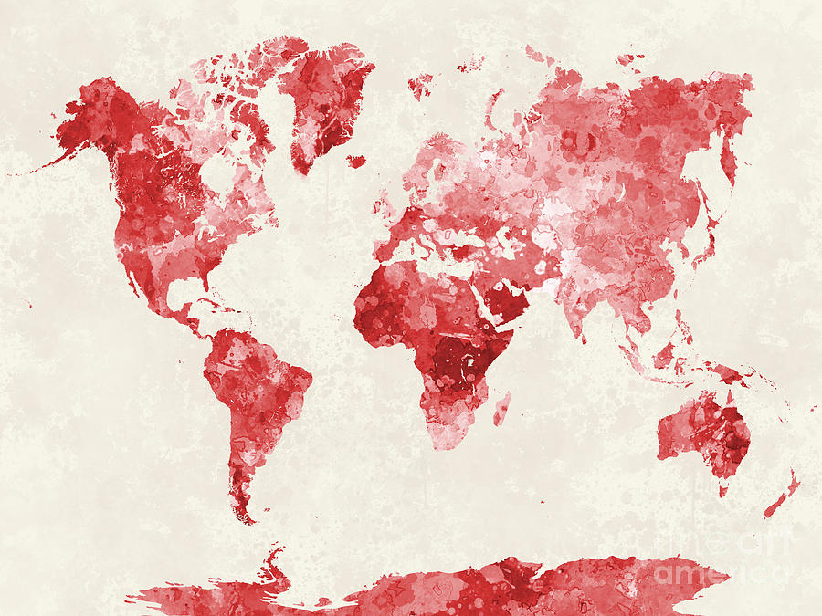 World Map In Watercolor Red Painting By Pablo Romero