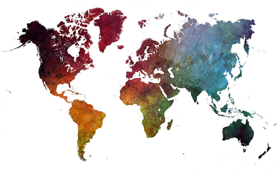 Map Of The World Digital Art - World map by Justyna Jaszke JBJart
