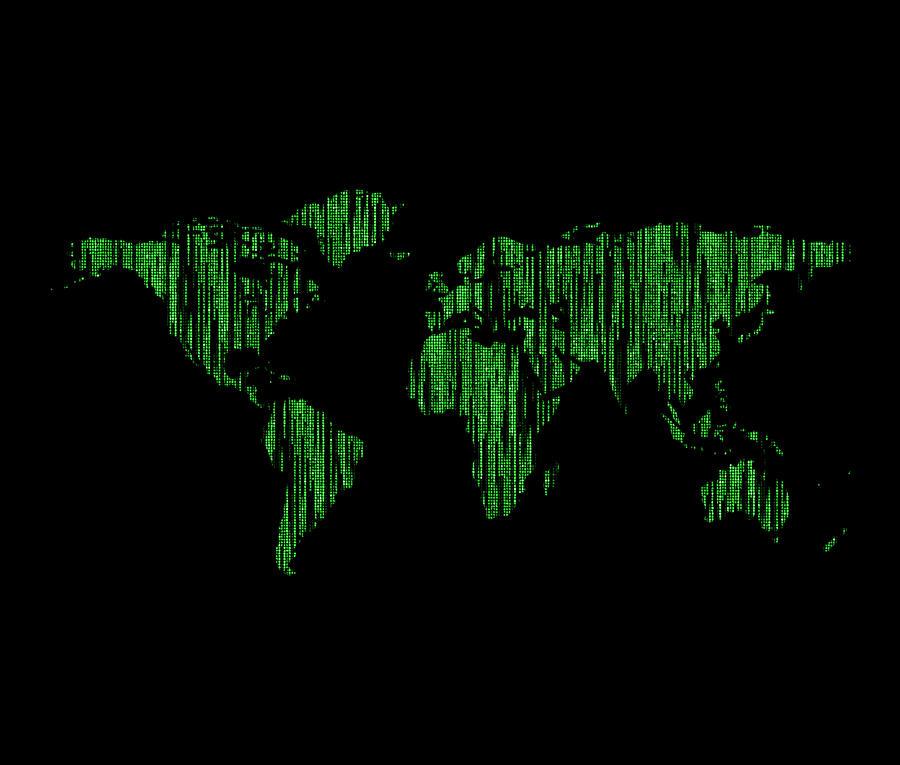 World Map Matrix Digital Art By Keidi Sel