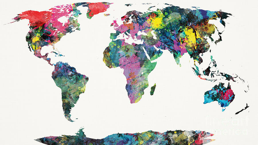 World Painting - World Map by Mike Maher