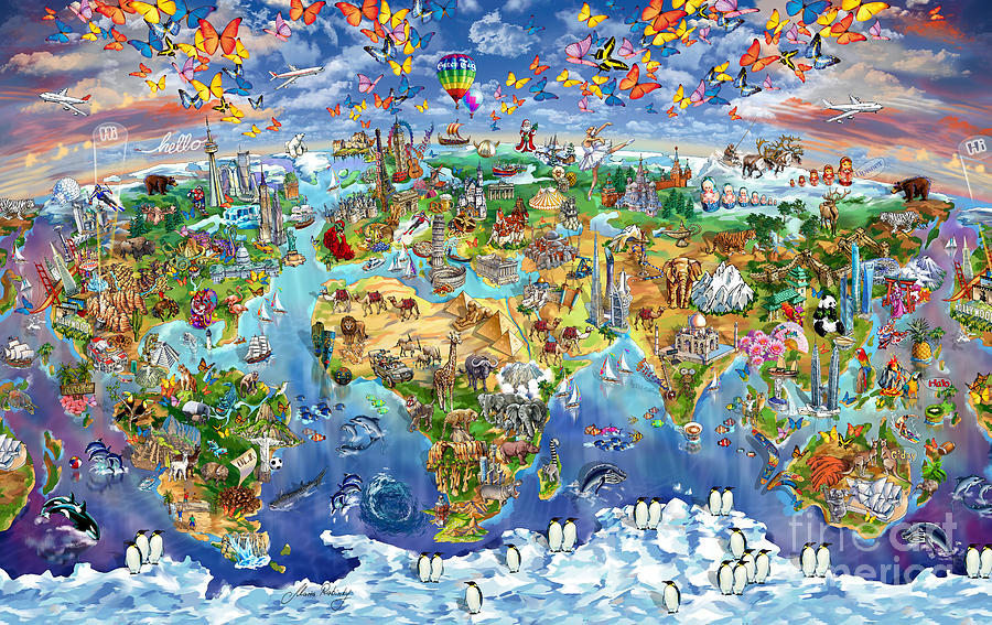 World Map Painting - World Map Of World Wonders by Maria Rabinky