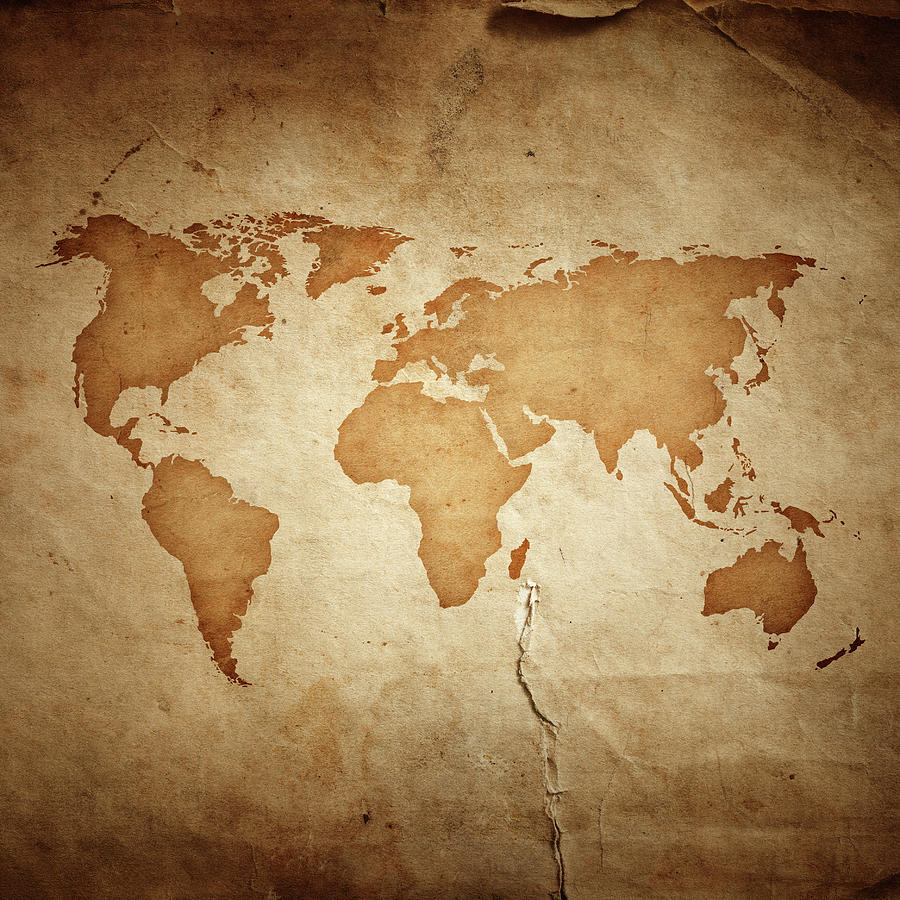 World Map On Aged Paper Texture Photograph by Sankai