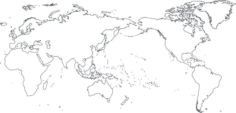 World Map Outline Contour Silhouette - Asia In Center