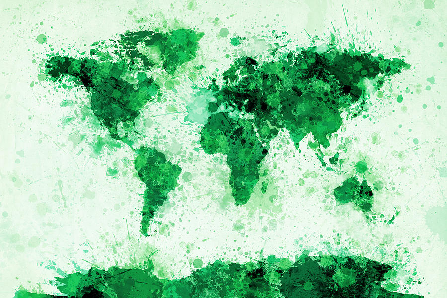 Map Of The World Digital Art - World Map Paint Splashes Green by Michael Tompsett