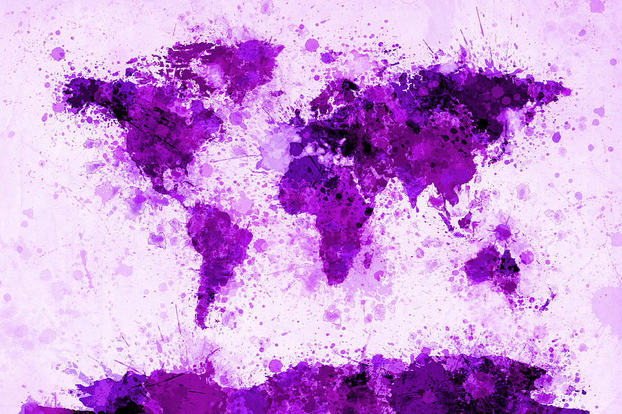 Map Of The World Digital Art - World Map Paint Splashes Purple by Michael Tompsett