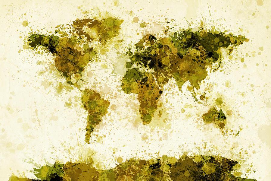 Map Of The World Digital Art - World Map Paint Splashes Yellow by Michael Tompsett