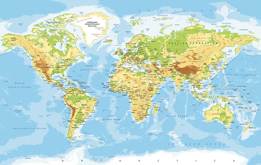 World Map Physical Vector Drawing by Pop_jop