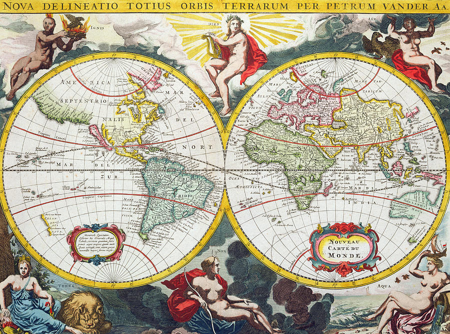 World map painting by pieter van der aa two hemispheres painting world map by pieter van der aa gumiabroncs Gallery
