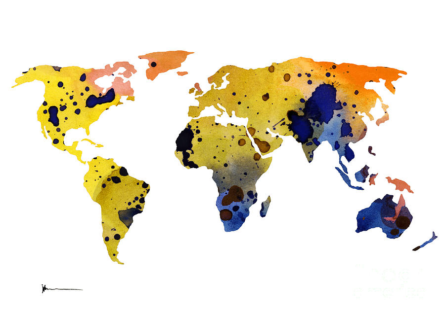 World Map Silhouette Colorful Poster Painting By Joanna Szmerdt - World map silhouette poster