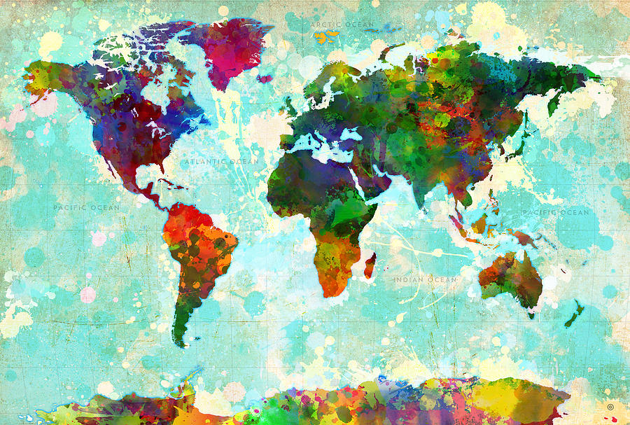 World map splatter design painting by gary grayson map of the world painting world map splatter design by gary grayson gumiabroncs Choice Image