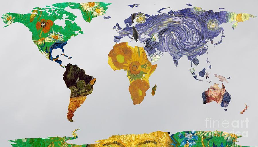 World map van gogh 3 painting by john clark dutch painting world map van gogh 3 by john clark gumiabroncs Choice Image