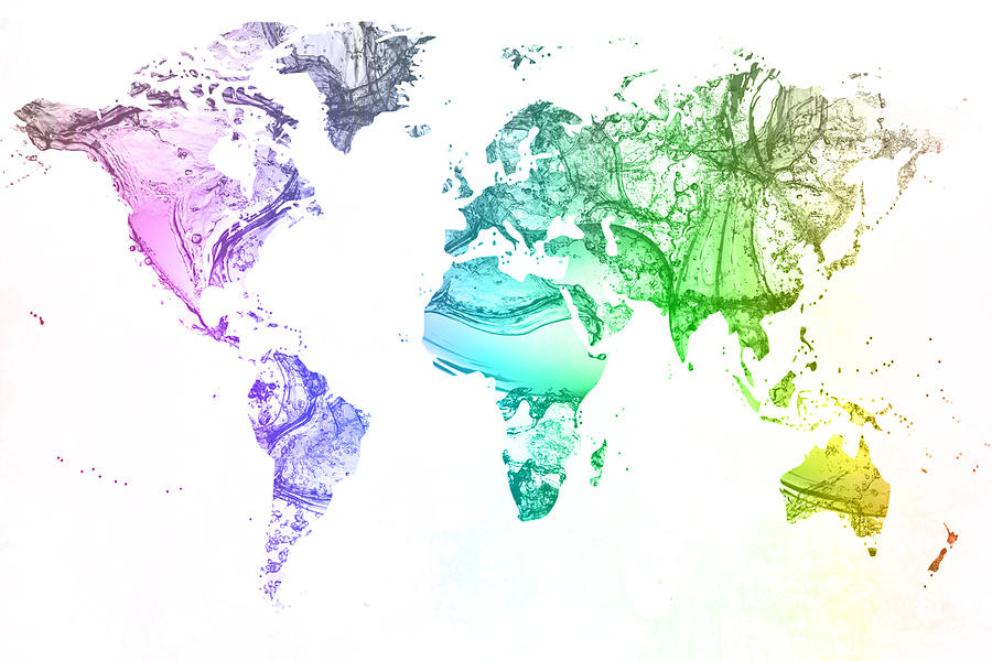 World Map Water Splash Rainbow Colors Digital Art By Eti Reid