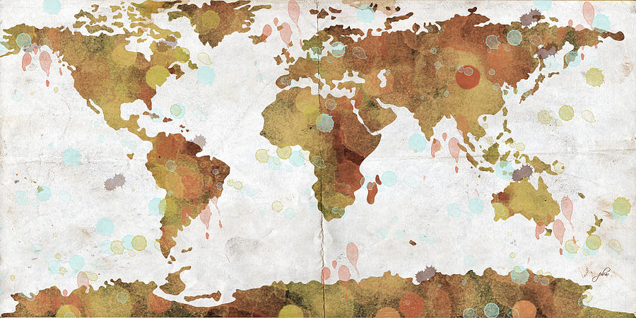 Feature Art Digital Art - World Map Watercolor 3 by Paulette B Wright