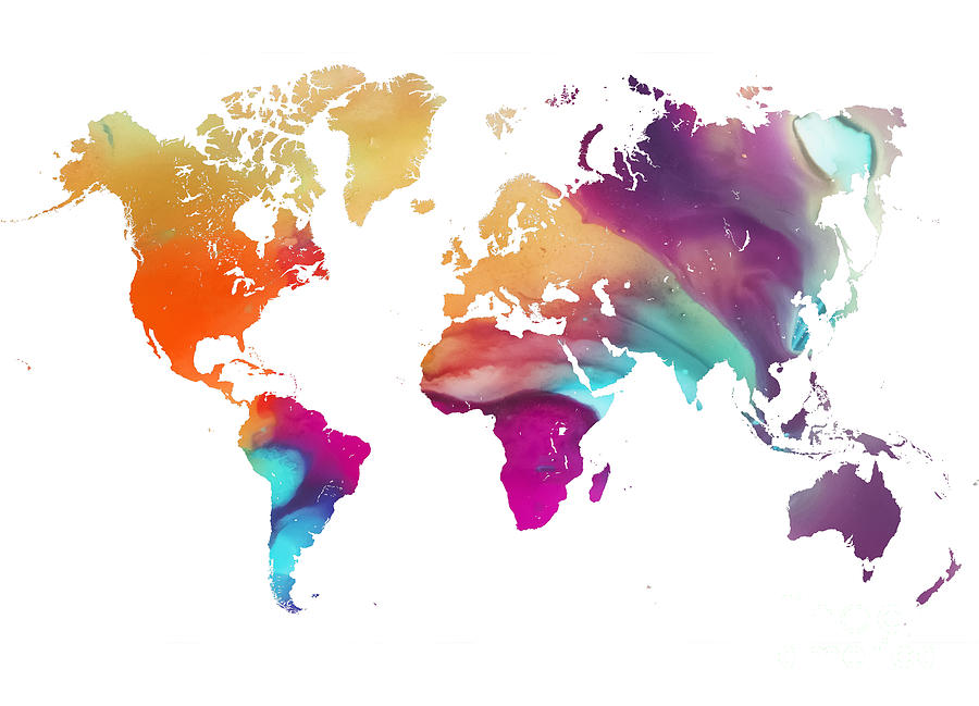 Map Of The World Painting - World map watercolor by Justyna Jaszke JBJart