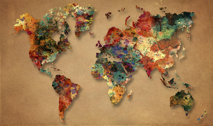 World map watercolor painting 1 painting by georgeta blanaru world map painting world map watercolor painting 1 by georgeta blanaru gumiabroncs Gallery