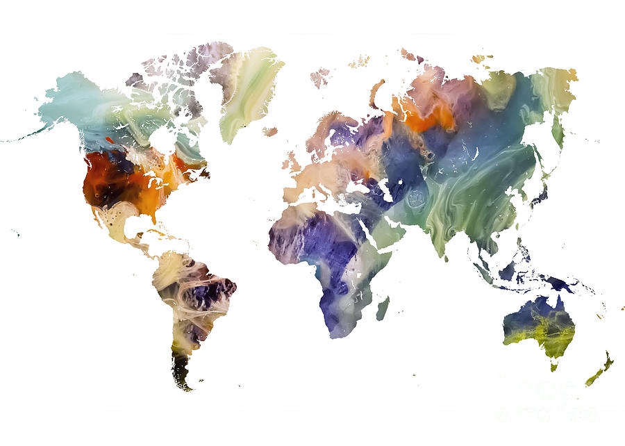 Map Of The World Painting - World Map watercolor painting by Justyna Jaszke JBJart