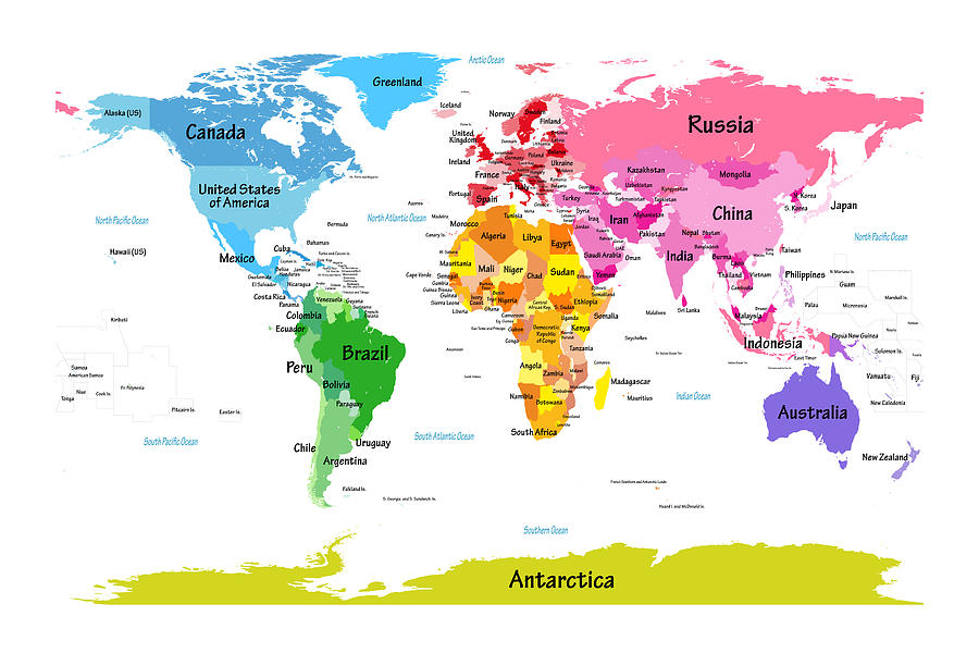 World Map Poster Digital Art - World Map With Big Text  by Michael Tompsett