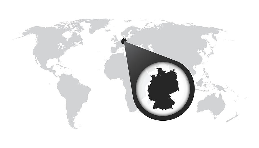 World Map With Zoom On Germany. Map In Loupe. Vector Illustration In on bright map of the world, titled map of the world, pdf map of the world, tectonic map of the world, interactive map of the world, google map of the world, zoom map of the world, rotatable map of the world, glacial map of the world, searchable map of the world,