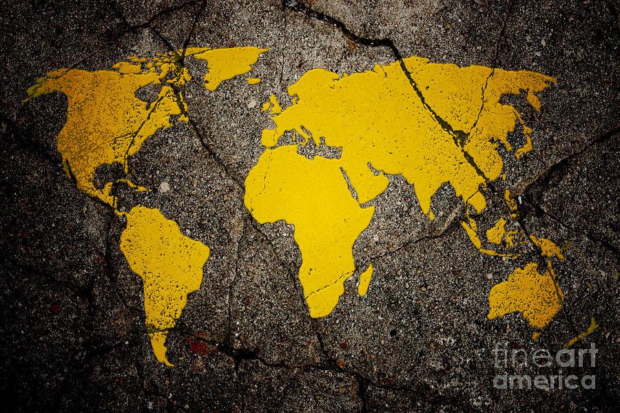 World map yellow paint on asphalt digital art by boofunk world map digital art world map yellow paint on asphalt by boofunk gumiabroncs Gallery