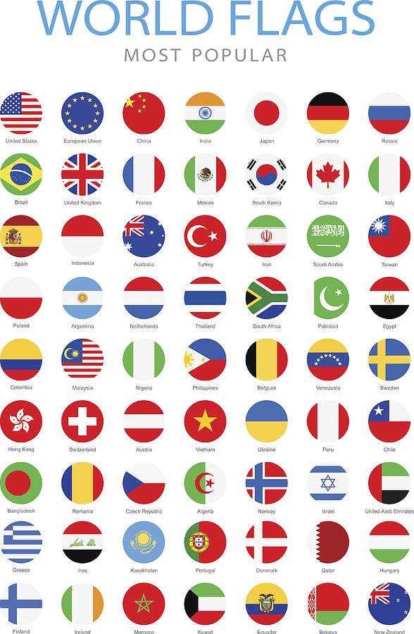 World Most Popular Rounded Flags - Illustration Drawing by Pop_jop