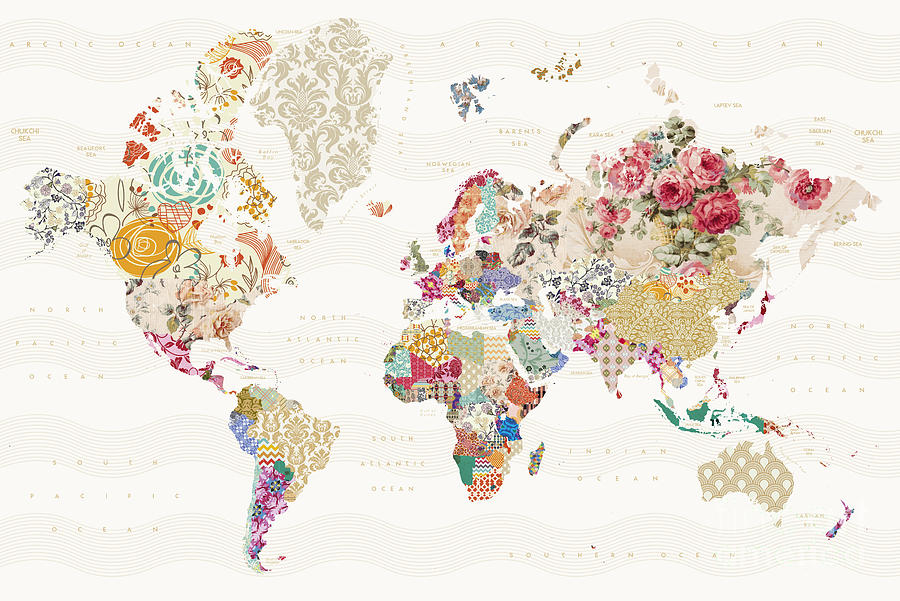 World map of patterns digital art by reinders posters worldmap digital art world map of patterns by reinders posters gumiabroncs Image collections