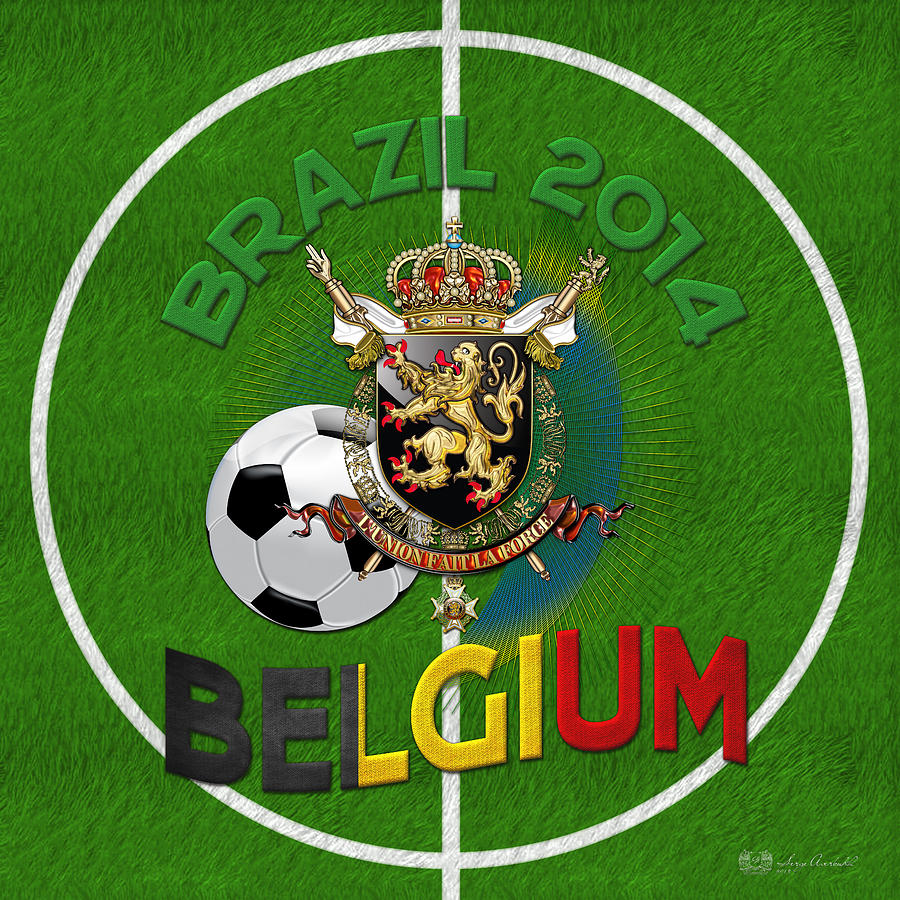 Man Cave Decor Digital Art - World Of Soccer 2014 - Belgium by Serge Averbukh
