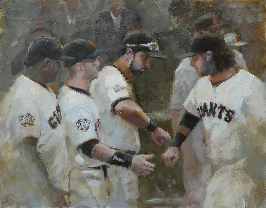 Sf Giants Painting - World Series Fist Bump by Darren Kerr