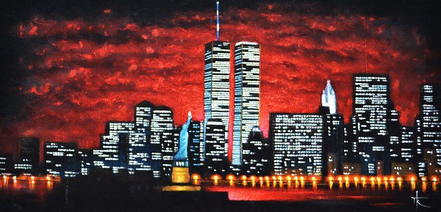 World Trade Center Buildings Sold Painting By Thomas Kolendra
