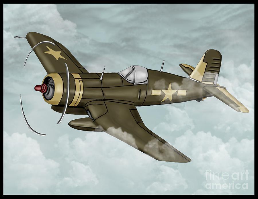 World War 2 Airplane Painting By Karen Sheltrown