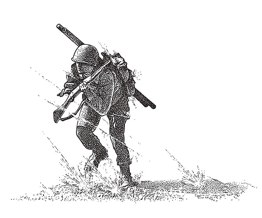 World War Ii Combat Soldier Attacking Omaha Beach Carrying Bangalore Torpedo By Georgepeters
