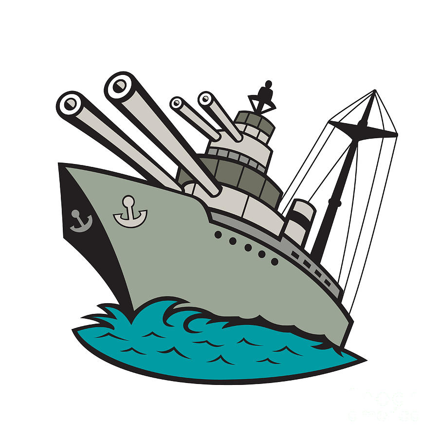 Battleship Digital Art - World War Two Battleship Cartoon by Aloysius ...